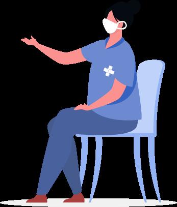 ilustração de uma enfermeira sentada de mascara com roupa da cor azul onde está estampada em sua blusa a logo do SUS(Sistema único de saúde).