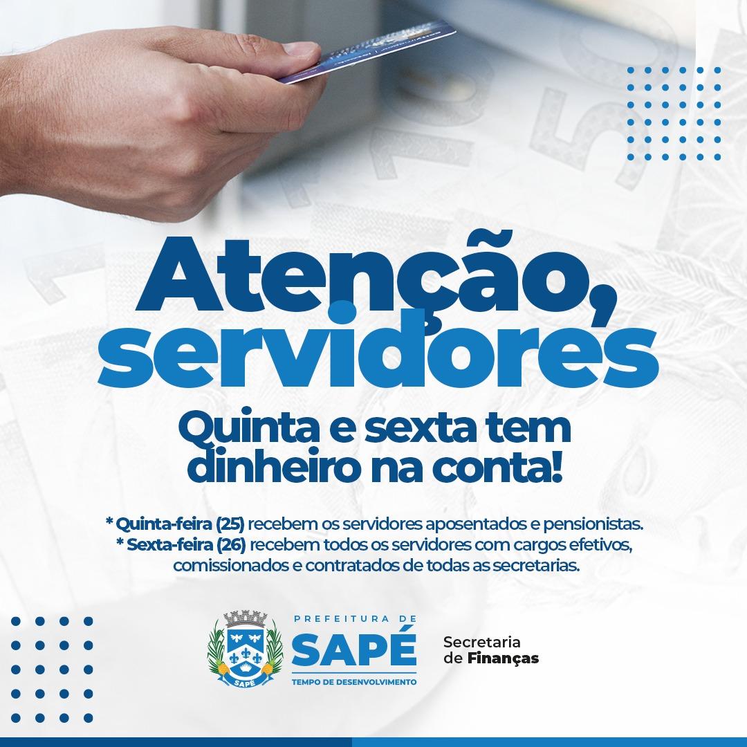 Prefeitura de Sapé paga folha em dia e injeta R$ 5 milhões na economia do município