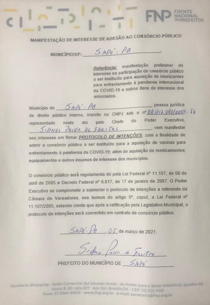 Prefeito Major Sidnei assina protocolo para aquisição de vacinas e insumos contra covid-19