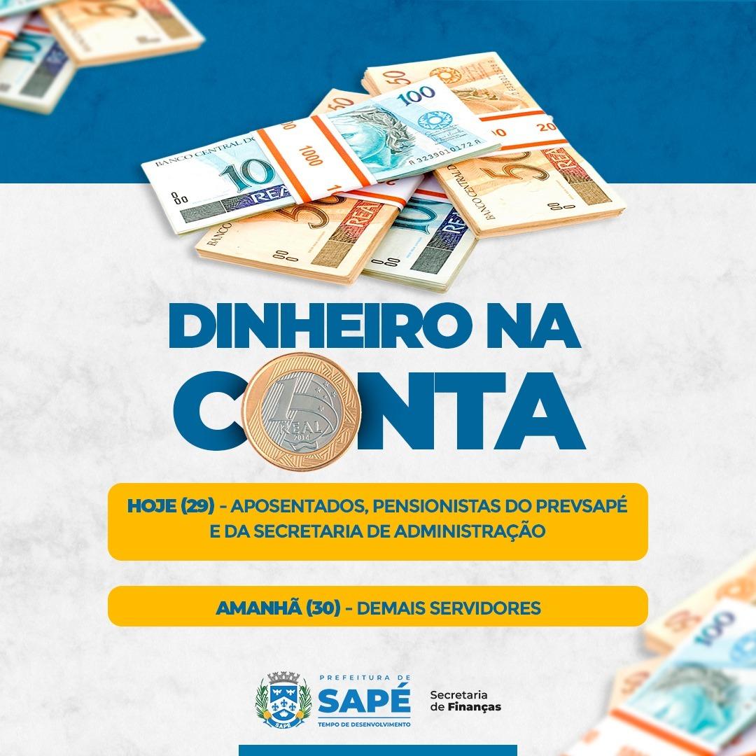 Prefeitura de Sapé paga salários de julho nesta quinta e sexta-feira