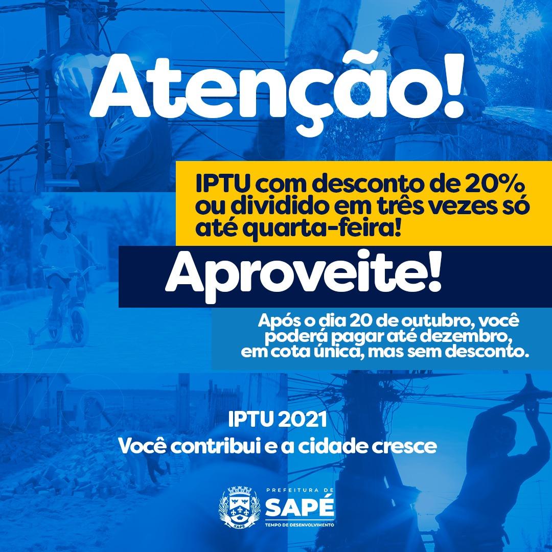 Em Sapé: encerra na quarta-feira prazo para pagar IPTU com 20% de desconto